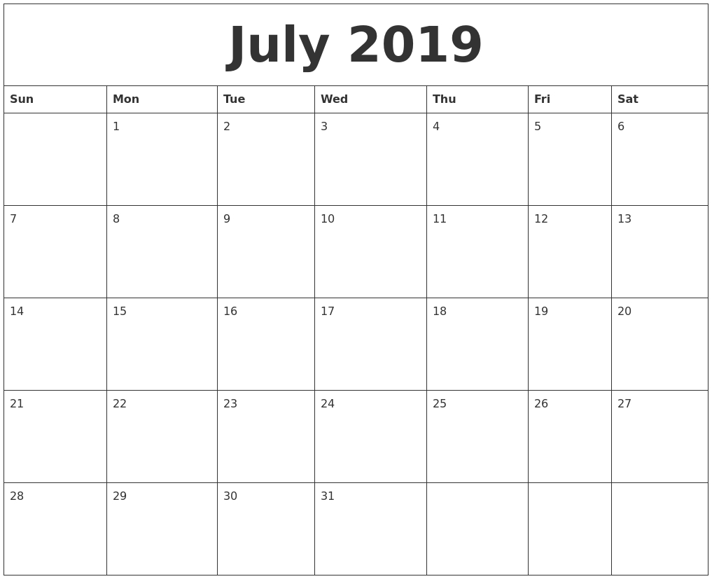 July 2019 Free Printable Monthly Calendar-Printable Monthly Calendars For June And July