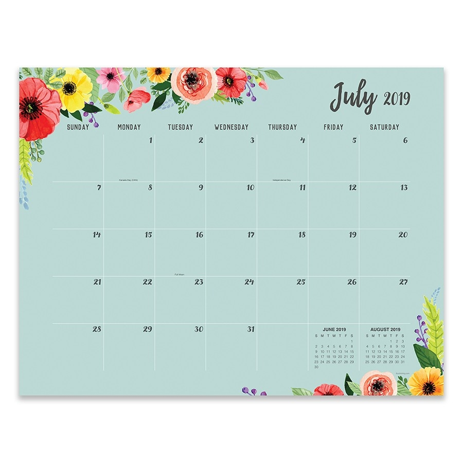 July 2019 - June 2020 Academic Classic Floral Large Desk Pad Monthly  Calendar, 22X17 Desk Blotter-2020 Monthly Calendars With Time Slots