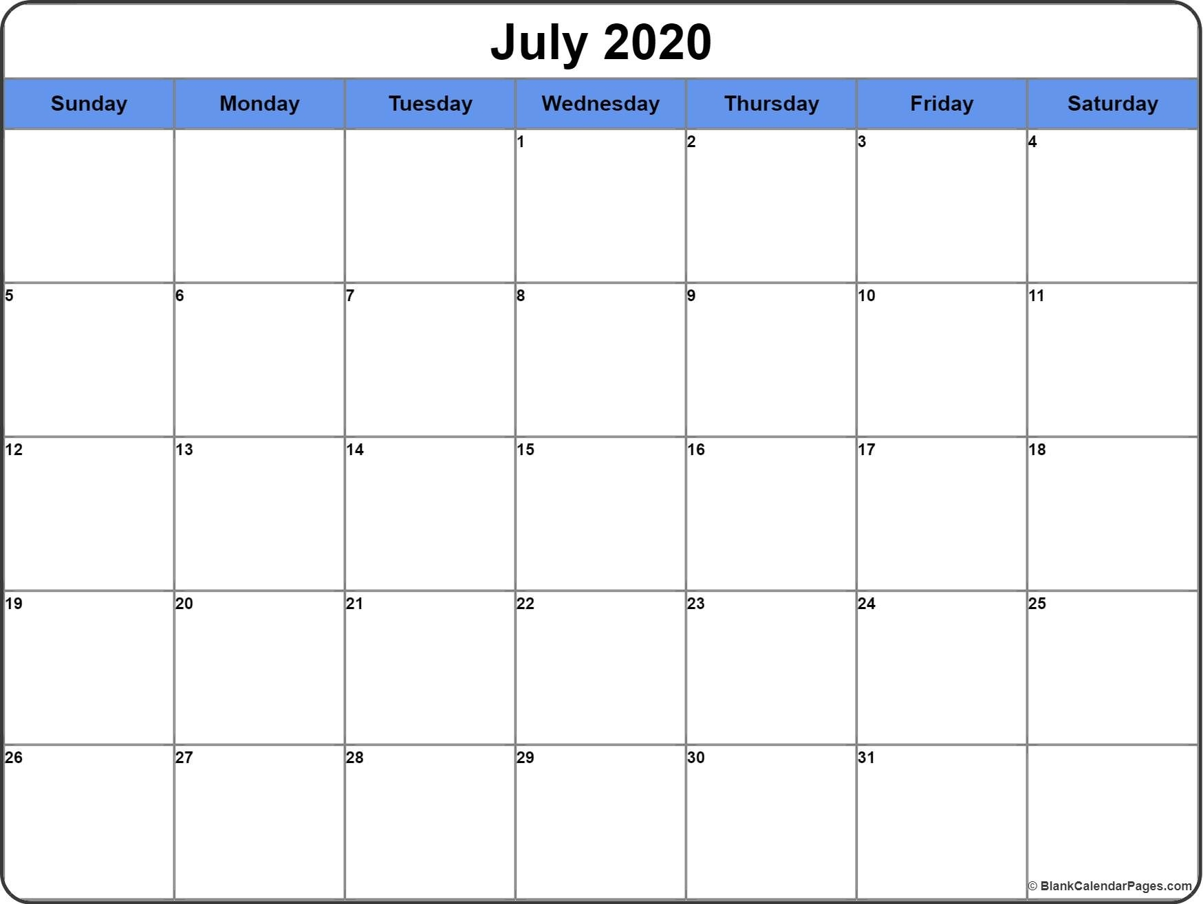 July 2020 Calendar | Free Printable Monthly Calendars-3 Month Blank Calendar June-August 2020