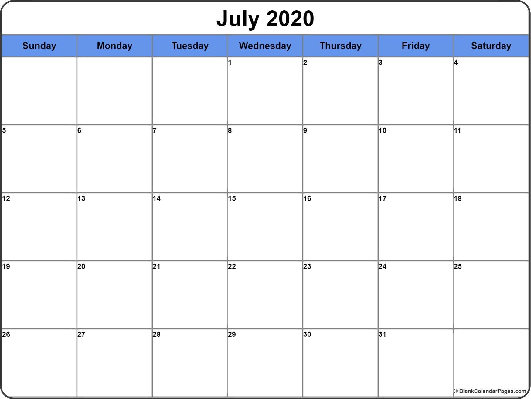 July 2020 Calendar | Free Printable Monthly Calendars-3 Month Blank Calendar June-August 2020