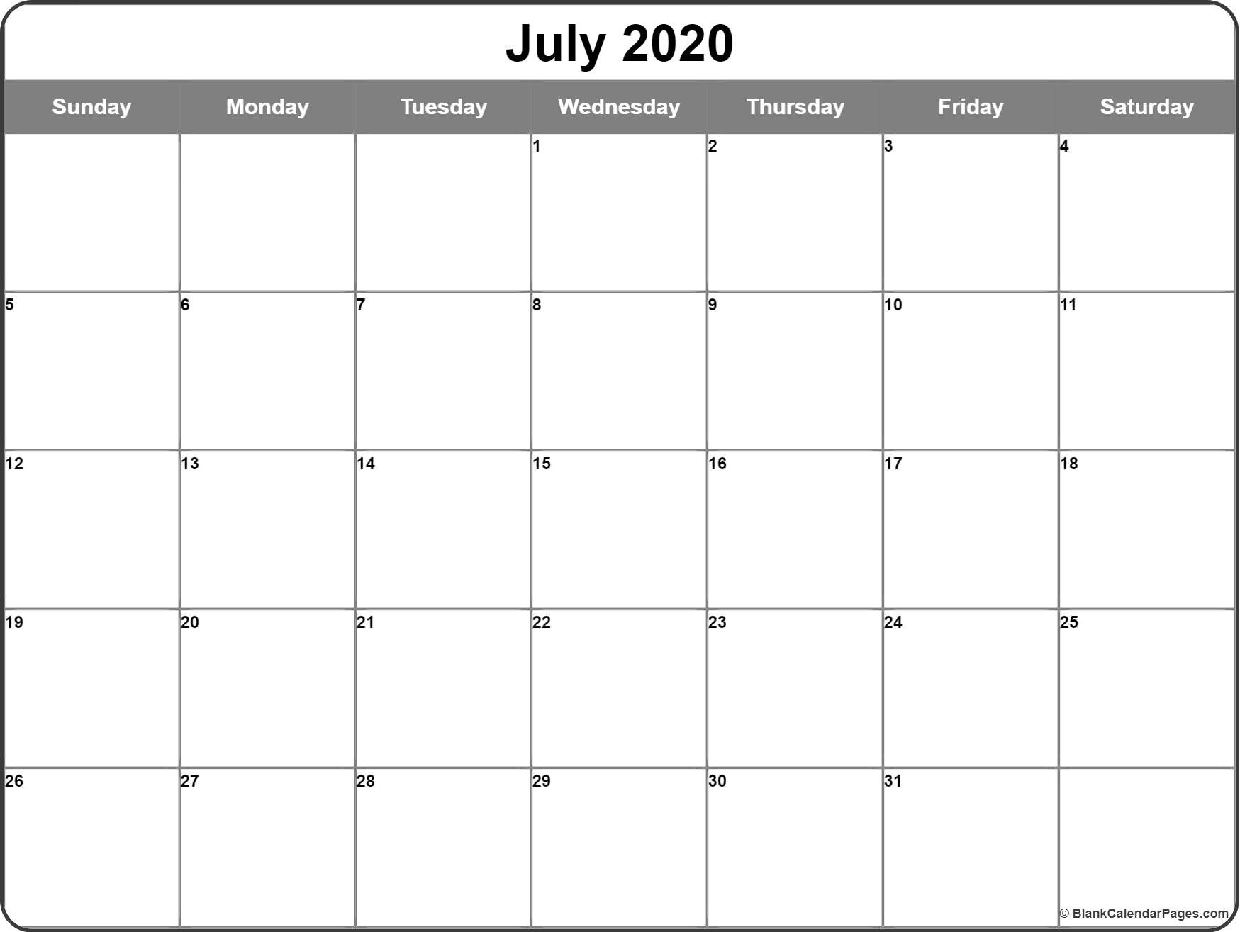 July 2020 Calendar | Free Printable Monthly Calendars-Calendar 2020 Template For Summer Camp Schedule