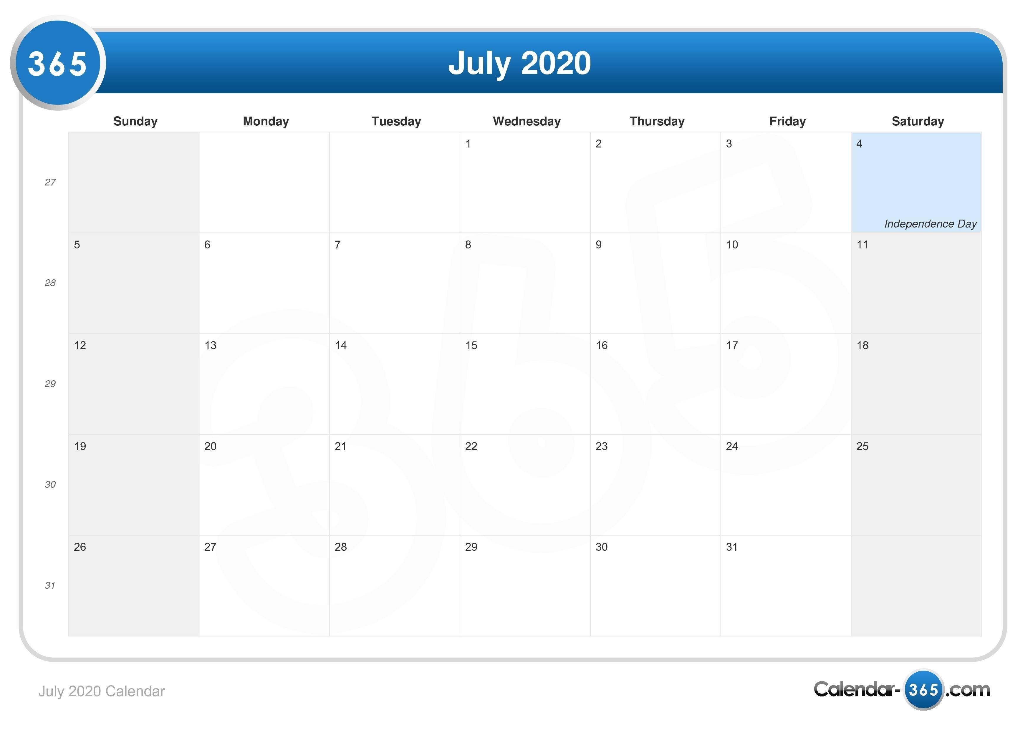 July 2020 Calendar-July 2020 Calendar With Holidays India