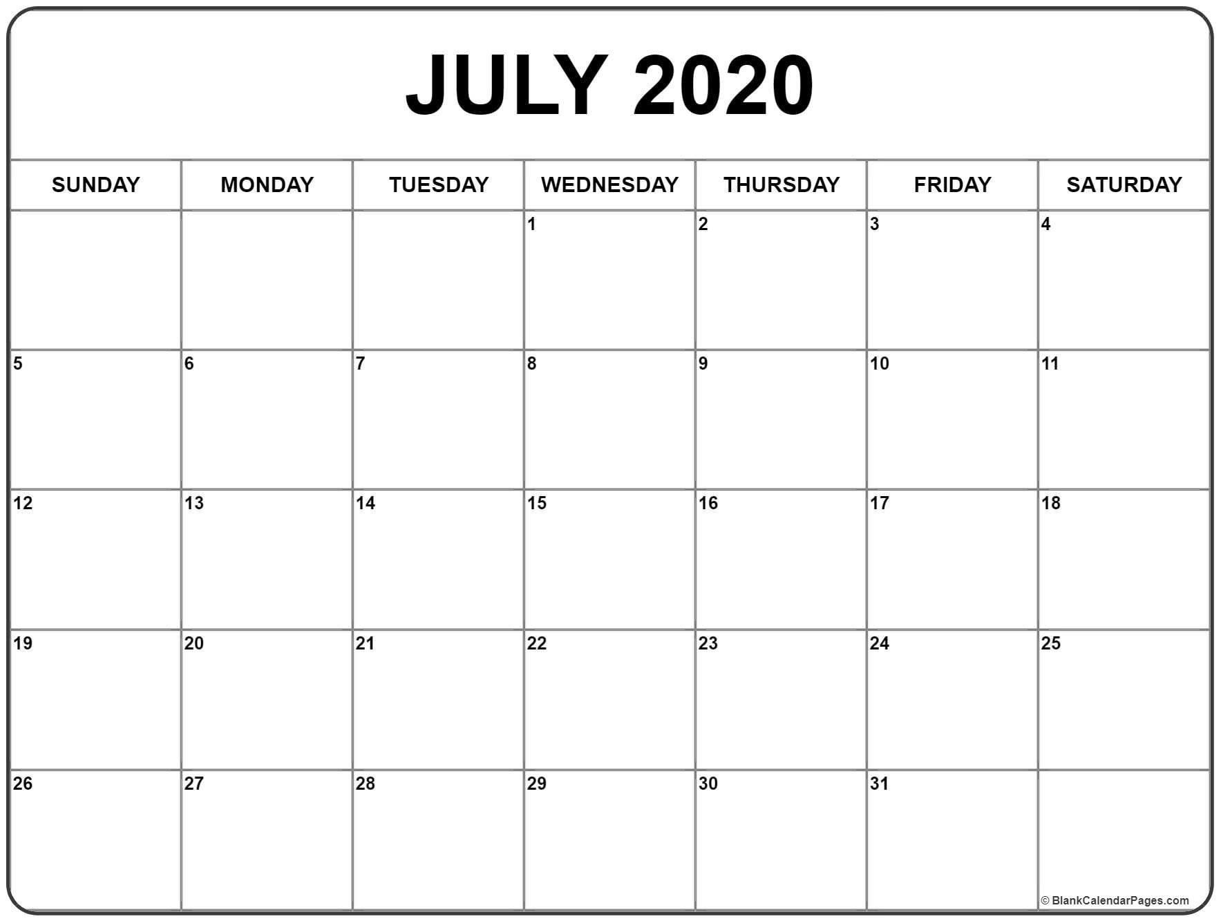 July 2020 Calendar | Printable Calendars | Printable Blank-2020-2020 Printable Calendar With No Holidays