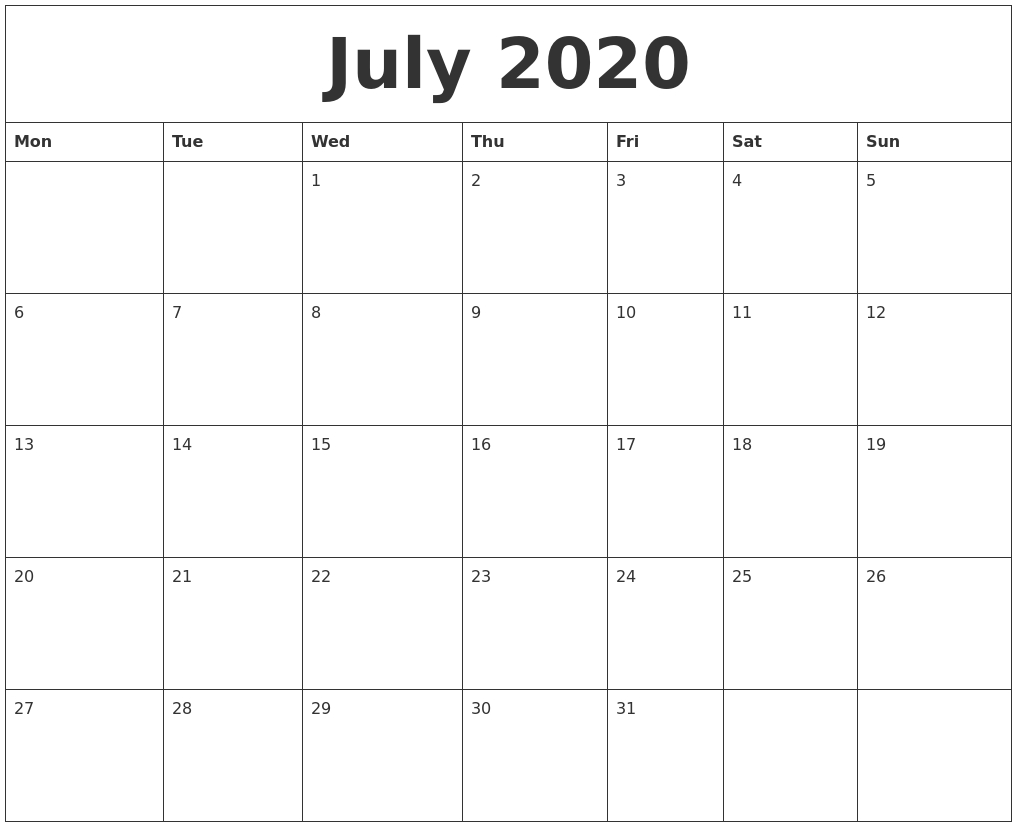 July 2020 Monthly Printable Calendar-Printable 2020 Monthly Calendar Monday Start