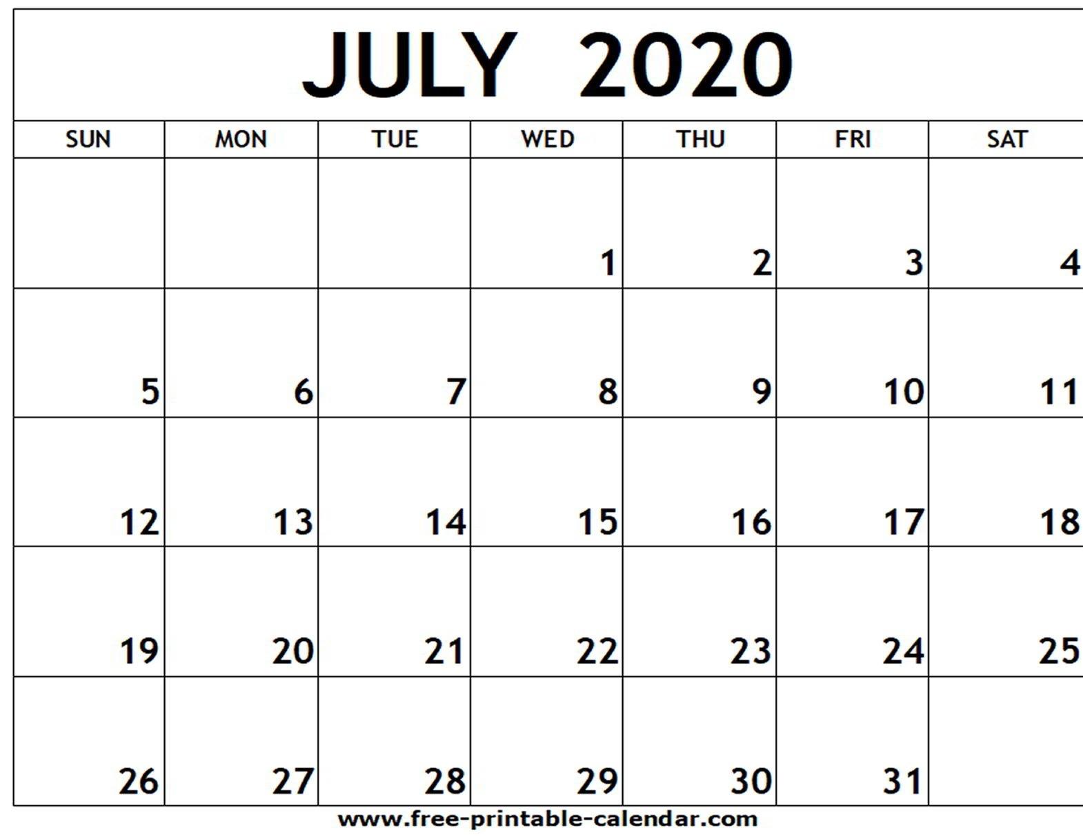 July 2020 Printable Calendar - Free-Printable-Calendar-Blank Calendar June-July 2020