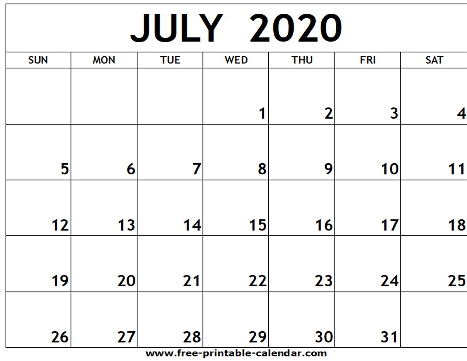 July 2020 Printable Calendar - Free-Printable-Calendar-Printable Monthly Template July 2020