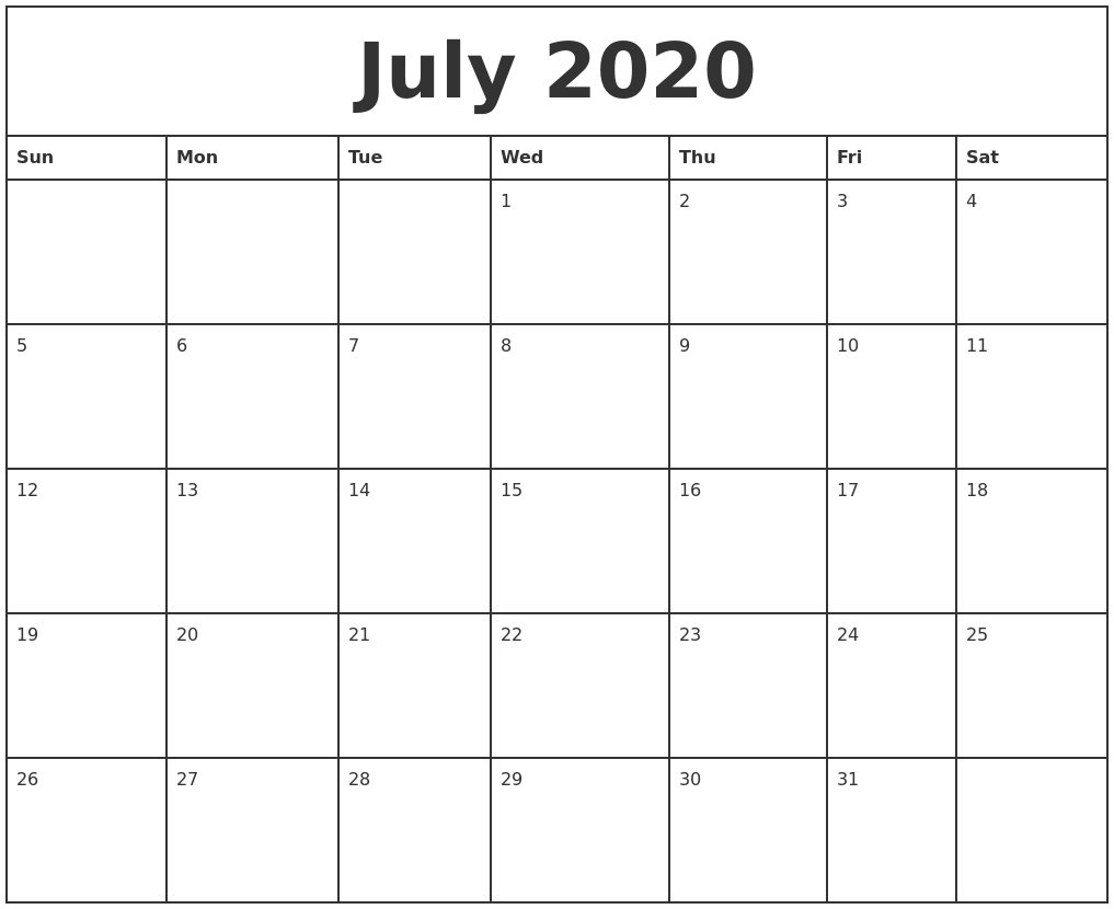 July 2020 Printable Monthly Calendar-Printable Monthly Calendar Starting On Monday