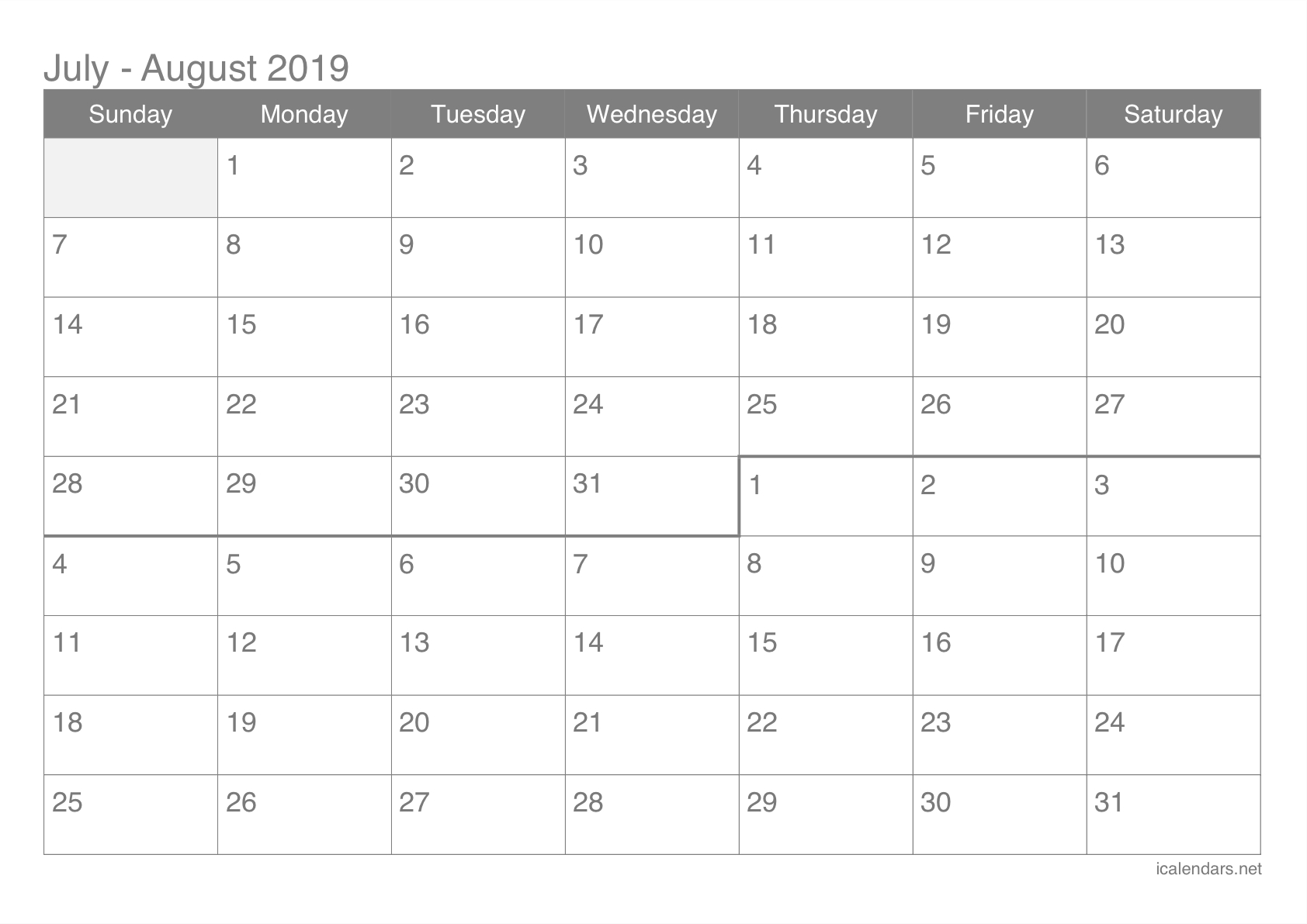July And August 2019 Printable Calendar - Icalendars-Blank Calendar June July August Combination Printable