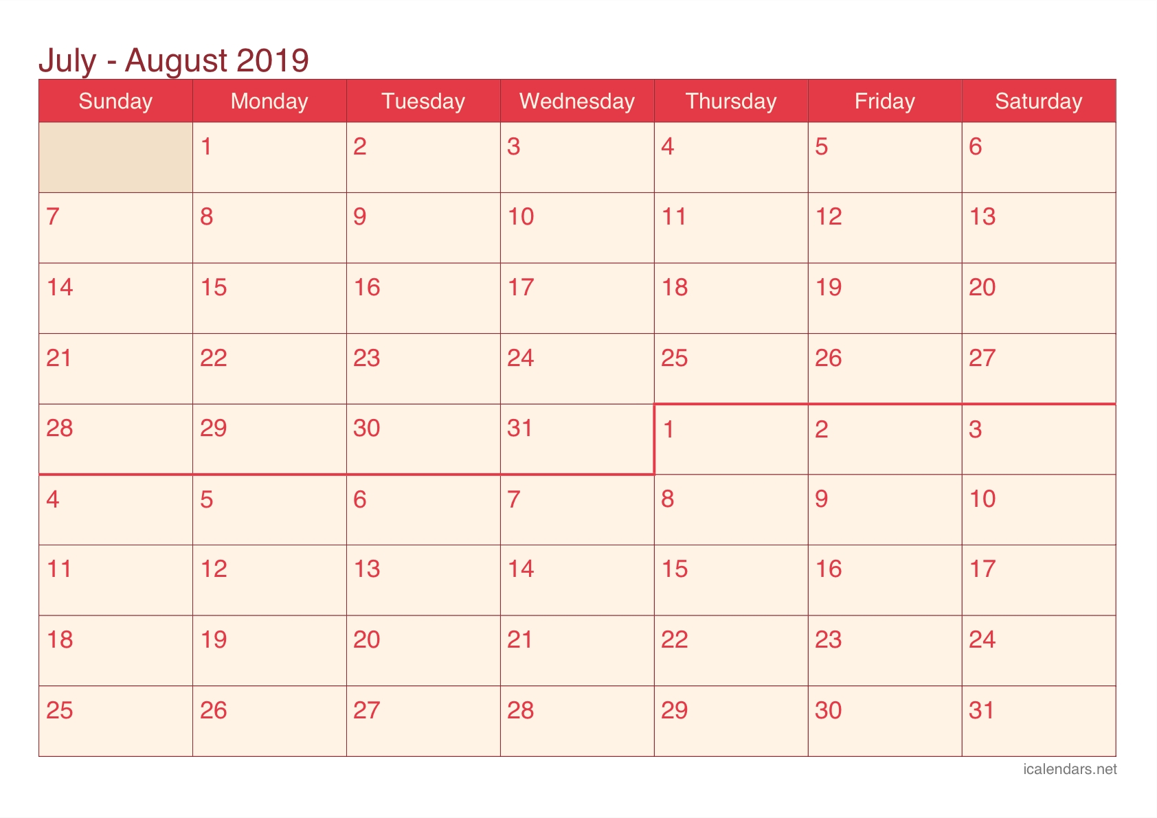 July And August 2019 Printable Calendar - Icalendars-June And July Blank Calendar