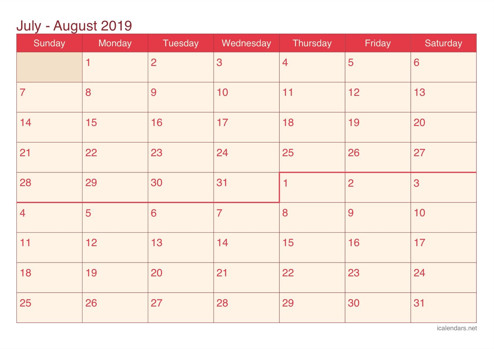 July And August 2019 Printable Calendar - Icalendars-June July & August Blank Calendar