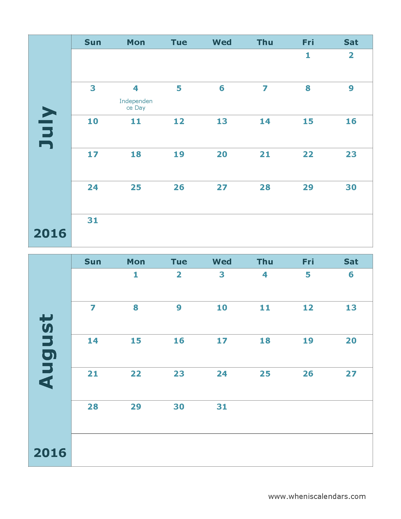 July August 2016 Calendar | July 2016 Calendar With Holidays-July And August Blank Schedule