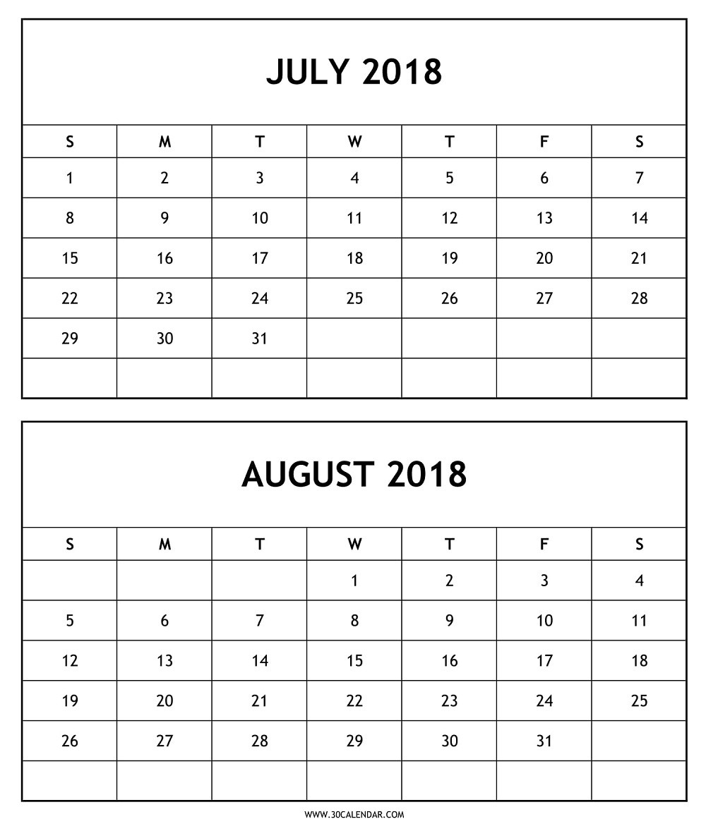 July August 2018 Calendar Printable Template Free Download-July And August Blank Schedule