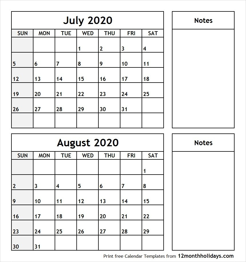 July-August-2020-Printable-Calendar - All 12 Month Calendar-Blank Printable Calendar July And August 2020