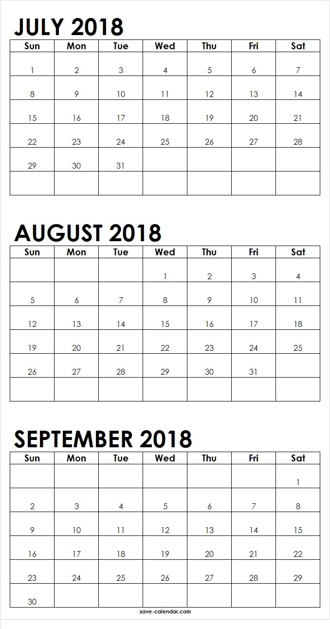 July August September 2018 Calendar Printable | 2018-Blank Callendar For June July Aug And Sept