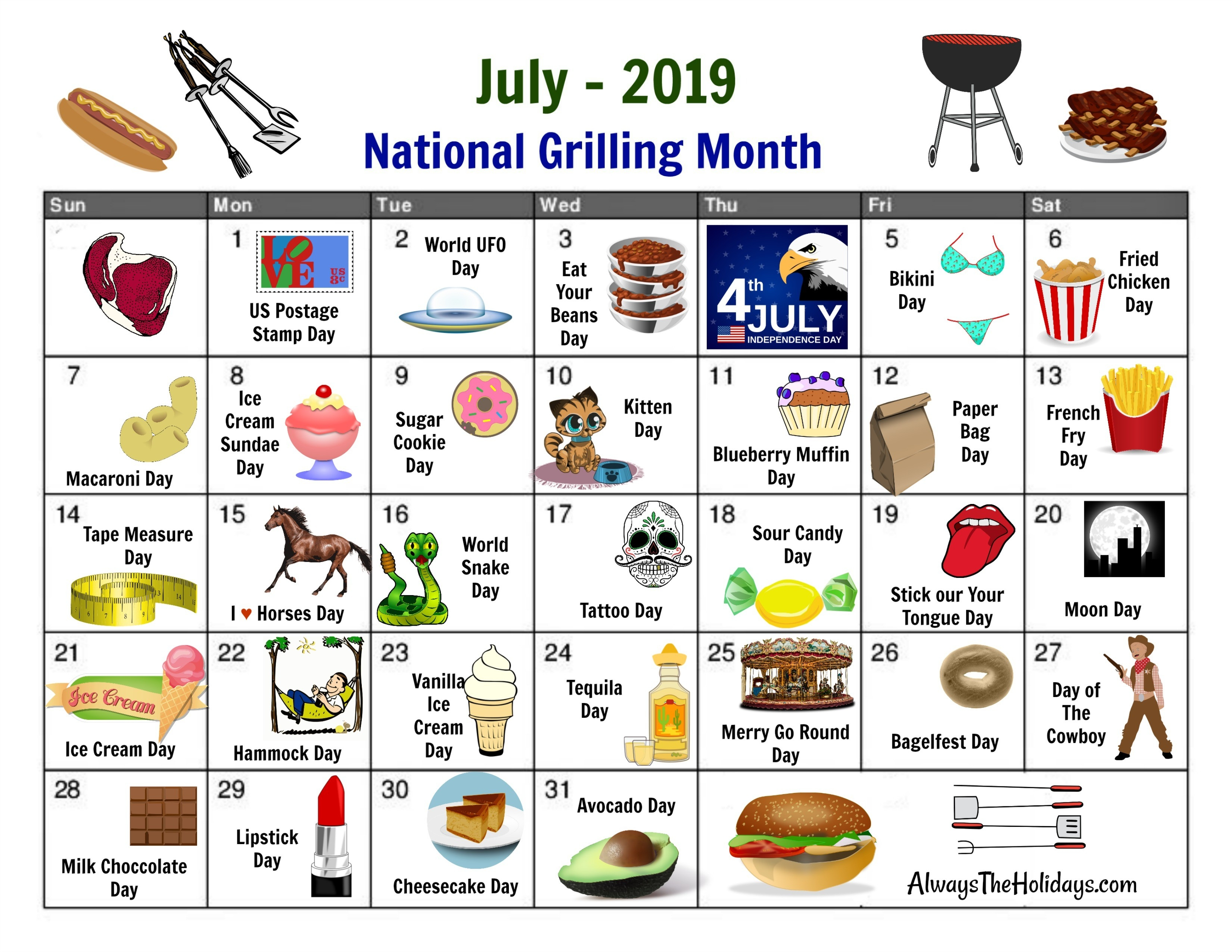 July National Day Calendar - Free Printable-Calander Of Monthly Food Days