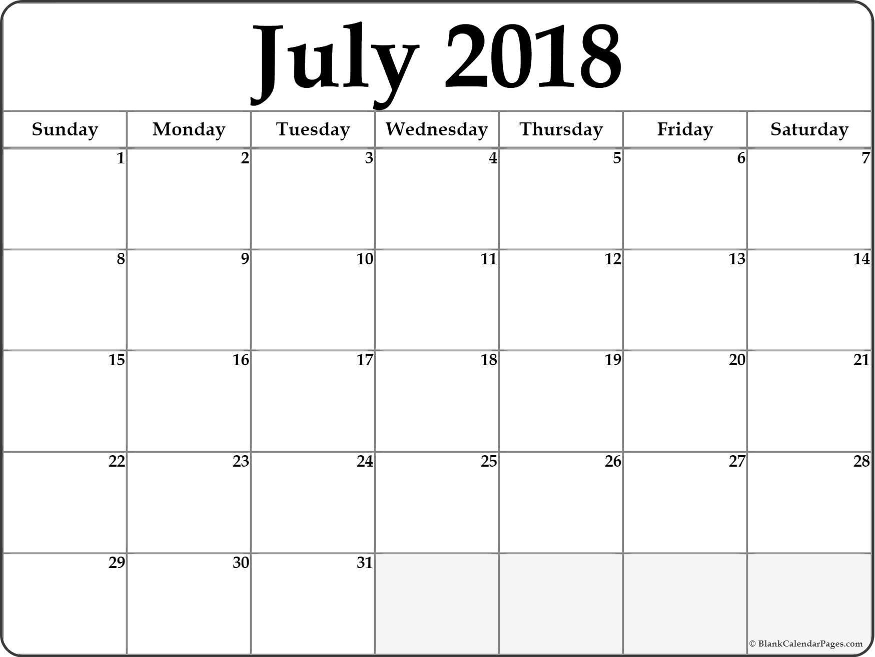 July Printable Calendar-Month Of June And July Blank Calendar