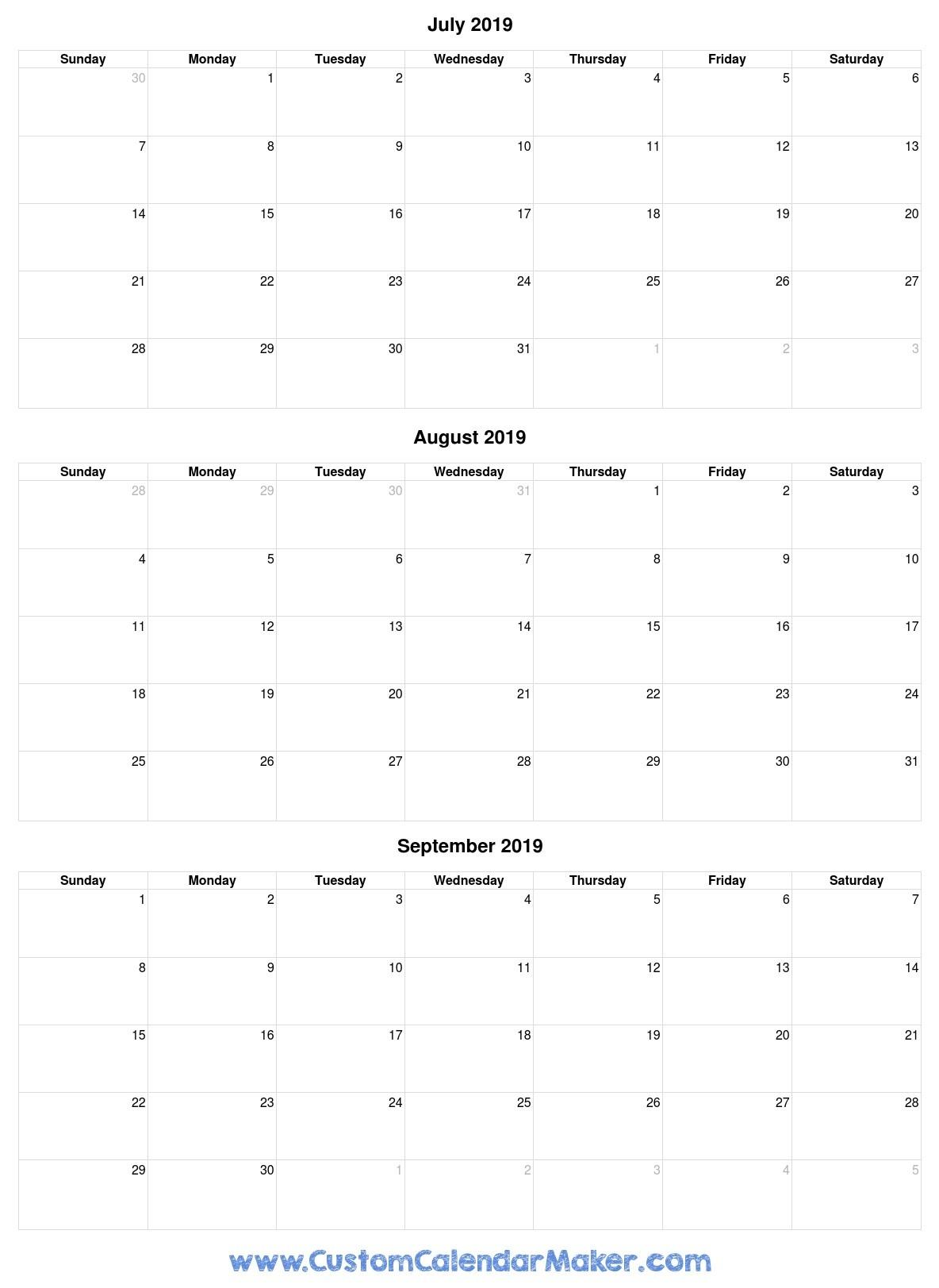 July To September 2019 Calendar - Free Printable Template-Blank Callendar For June July Aug And Sept