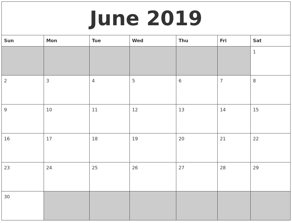 June 2019 Blank Printable Calendar-June And July Blank Calendar