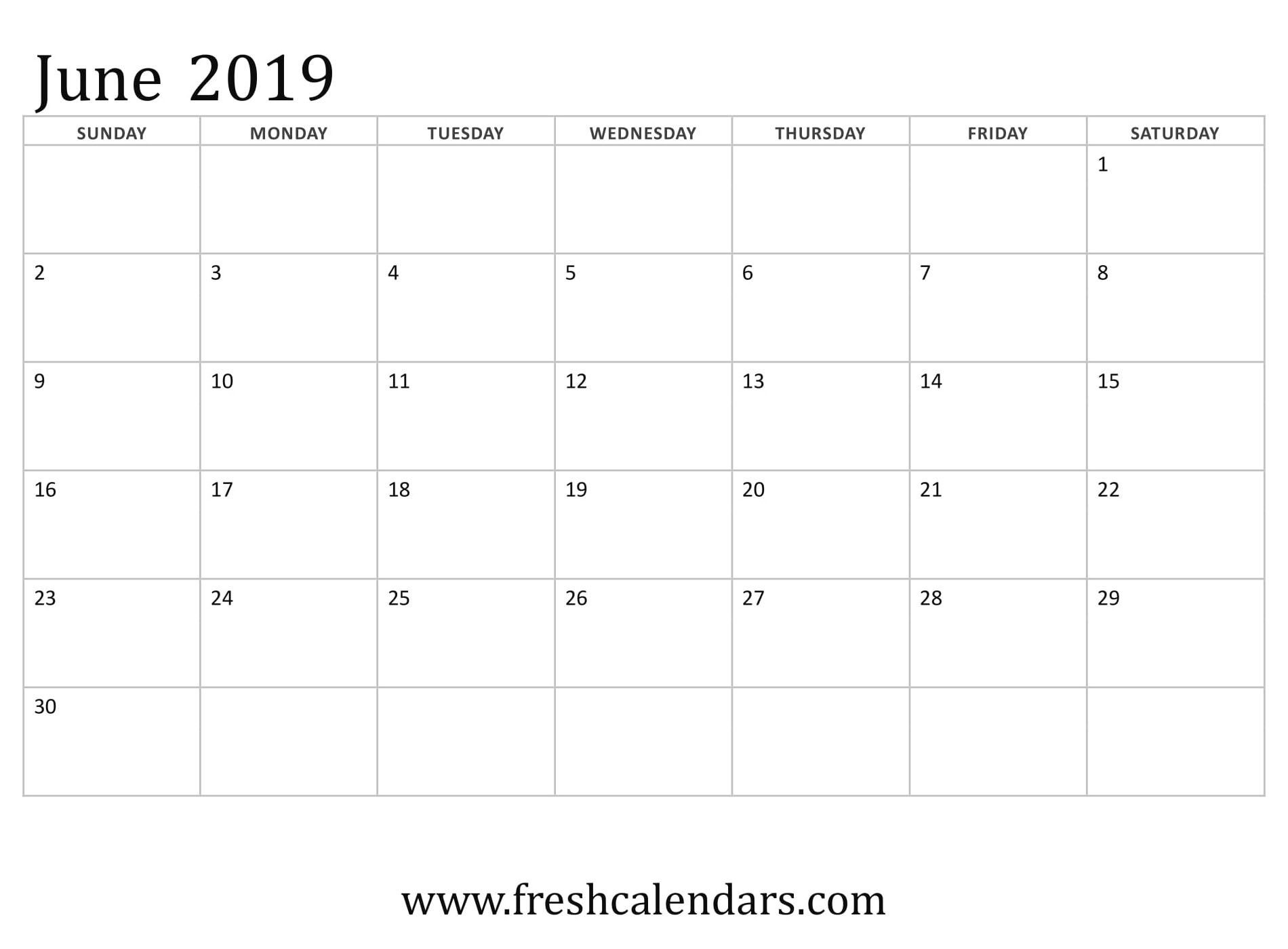 June 2019 Calendar Basic Template | Printable Monthly-Monthly Schdule For June