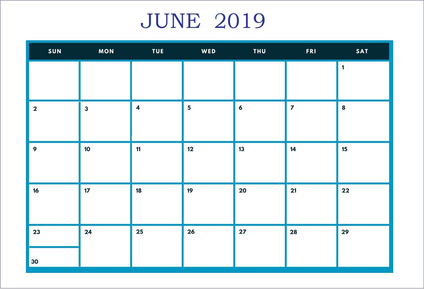 June 2019 Calendar | Monthly Calendar Templates | June 2019-Monthly Schdule For June