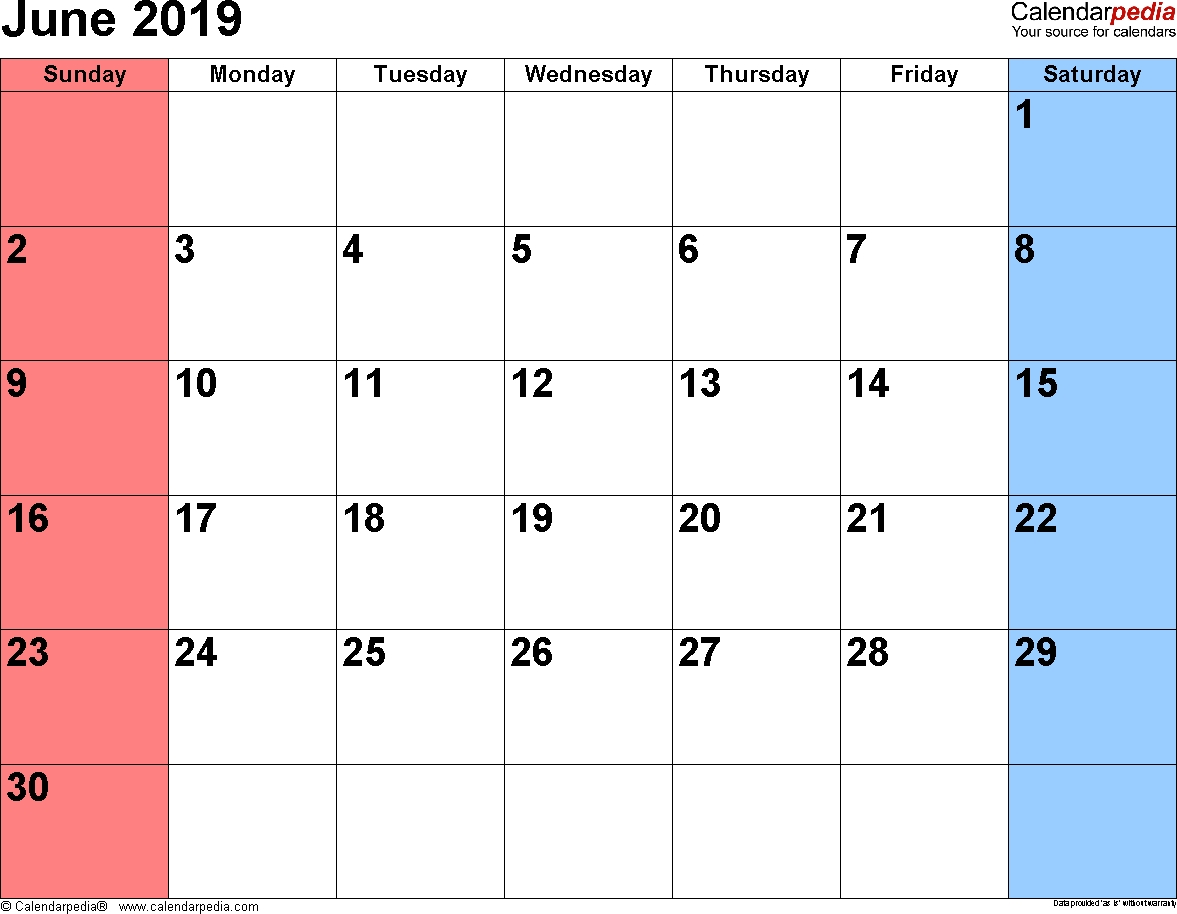 June 2019 Calendars For Word, Excel & Pdf-Fill In The Blank July 2919 Calendar