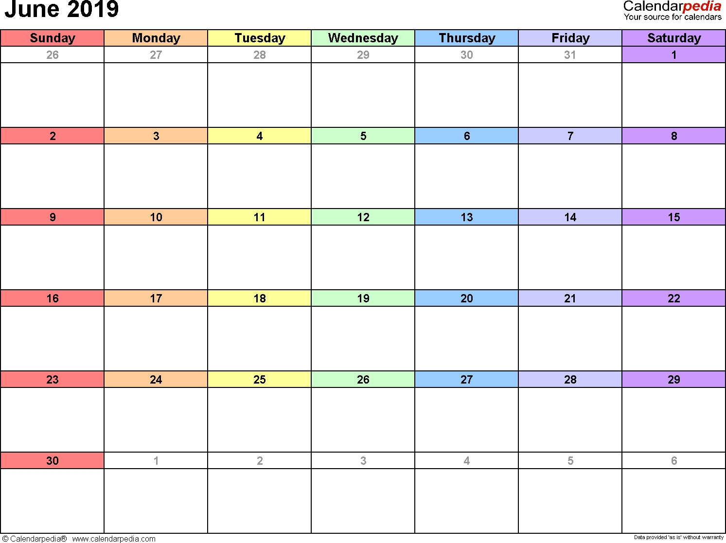 June 2019 Calendars For Word, Excel & Pdf-Monthly Schdule For June
