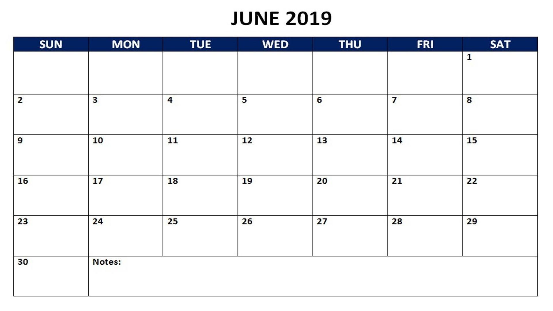 June 2019 Monthly Calendar | 2019 Calendars | Monthly-Monthly Schdule For June