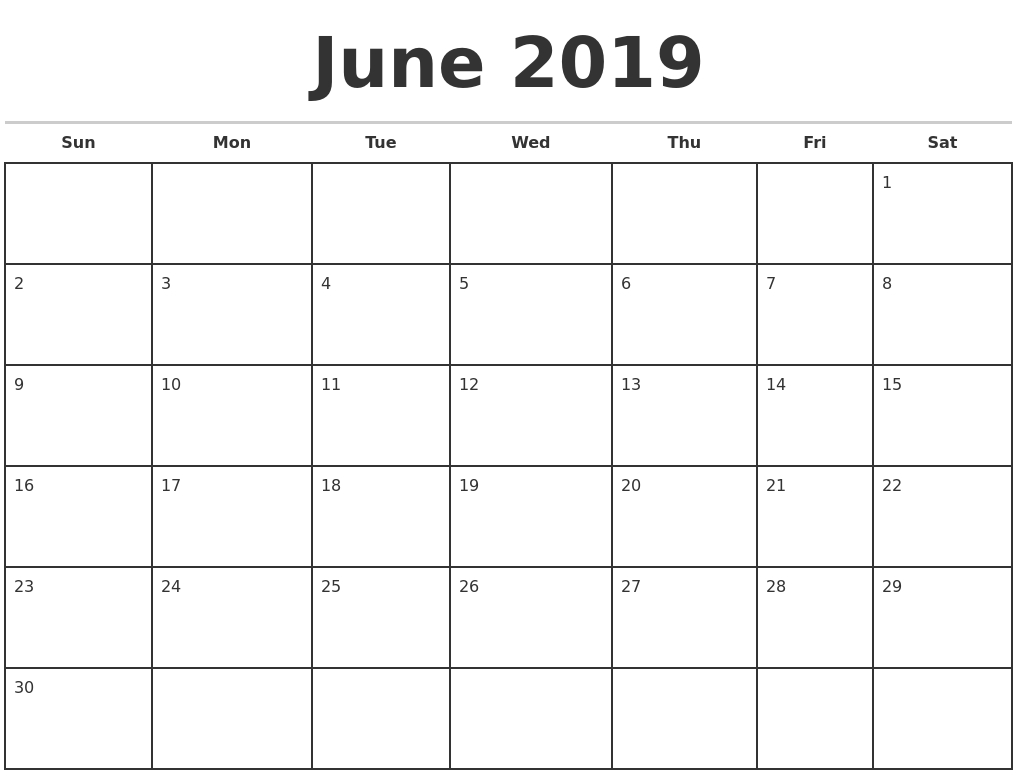 June 2019 Monthly Calendar Template-Monday To Friday Monthly Calendar