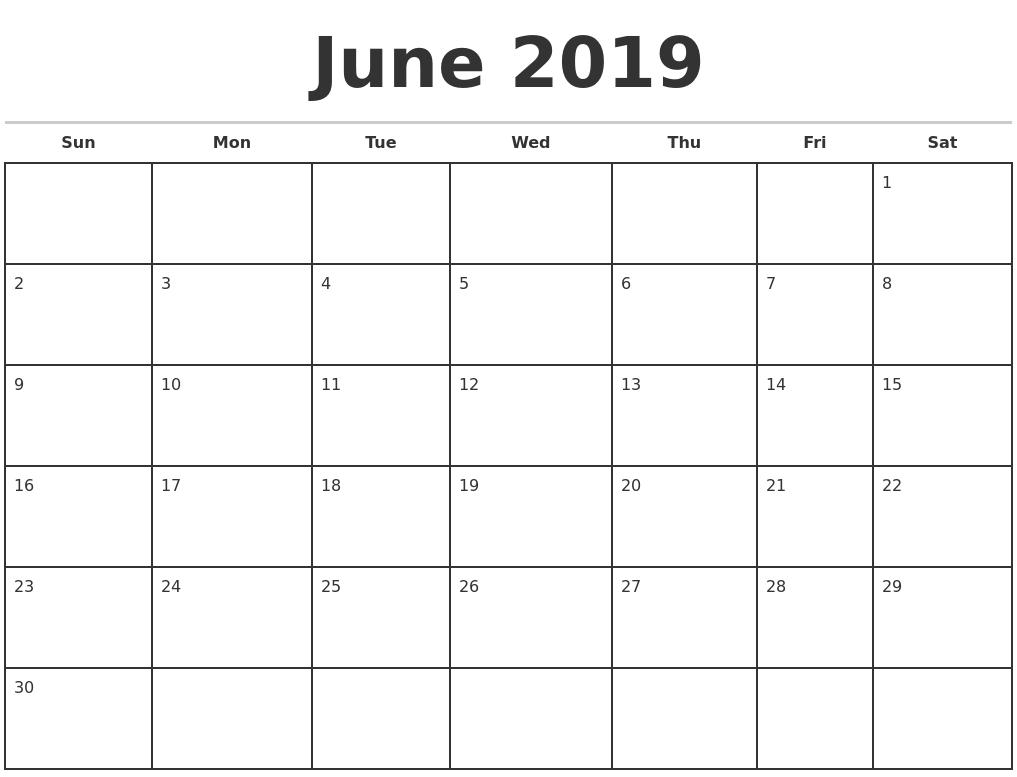 June 2019 Monthly Calendar Template-Monthly Calandar Template Start From Sunday