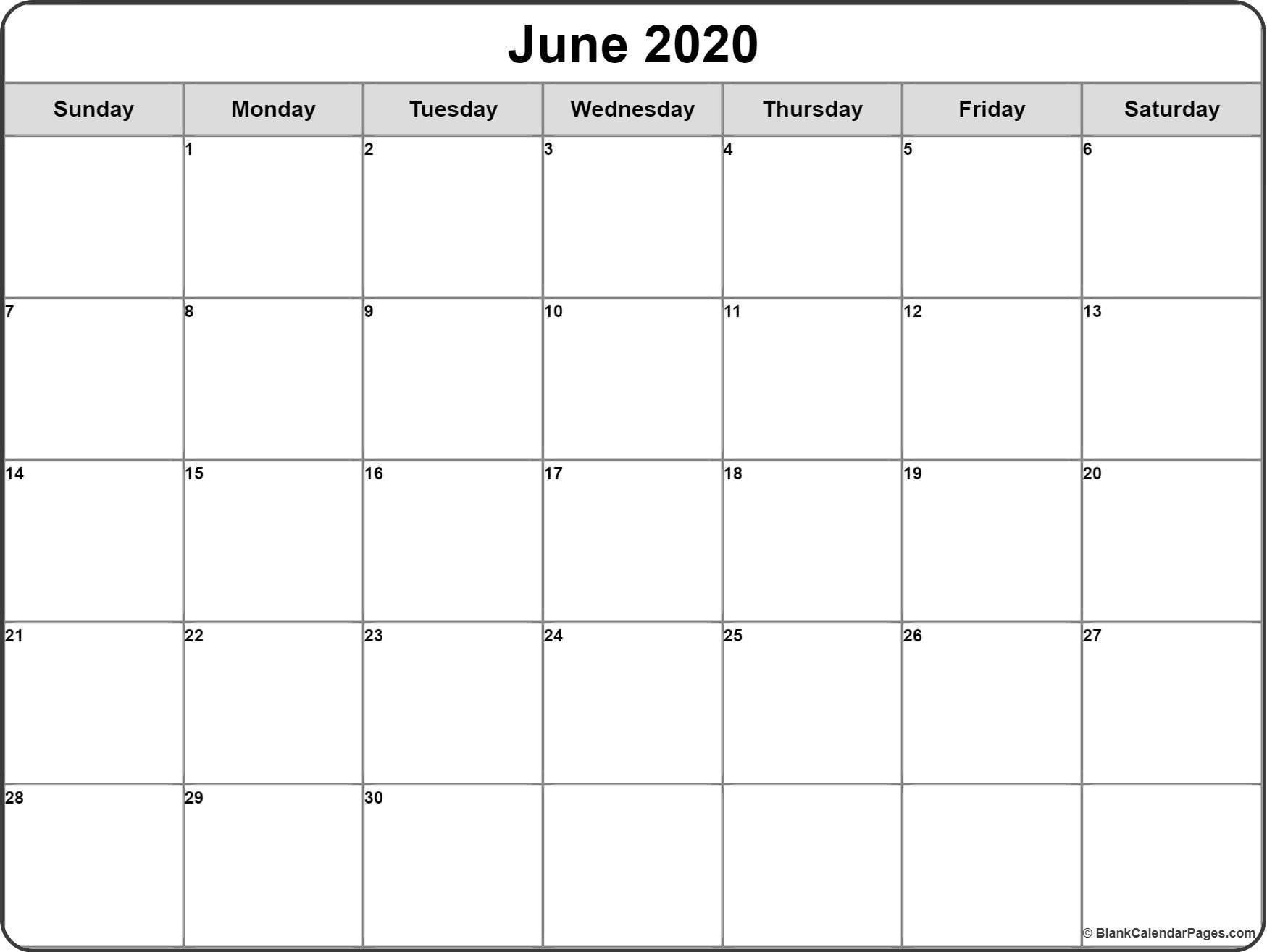 June 2020 Calendar | Free Printable Monthly Calendars-Fill In Monthly Calendar 2020