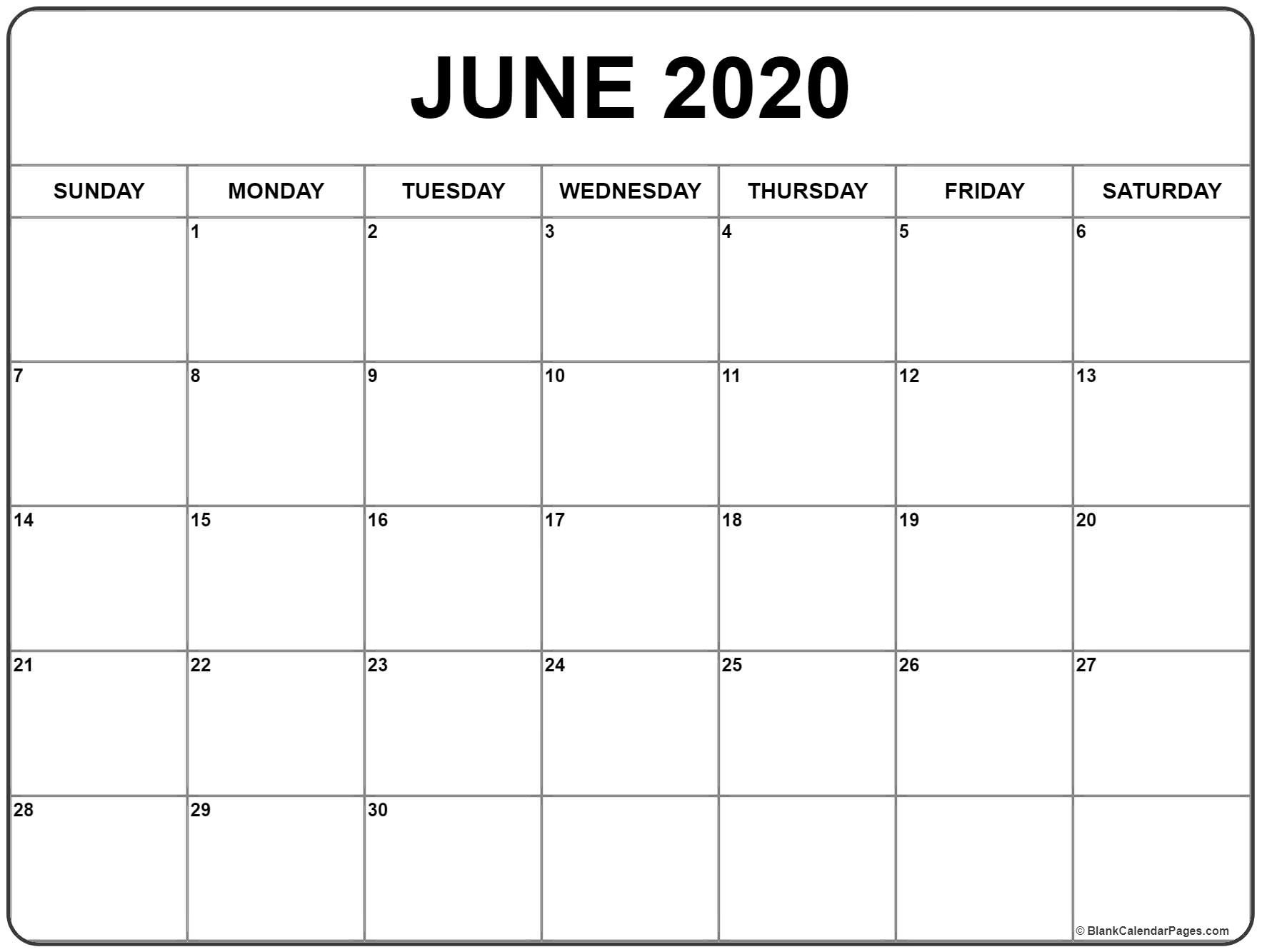 June 2020 Calendar | Free Printable Monthly Calendars-Print Off Monthly Calender For June And July 2020