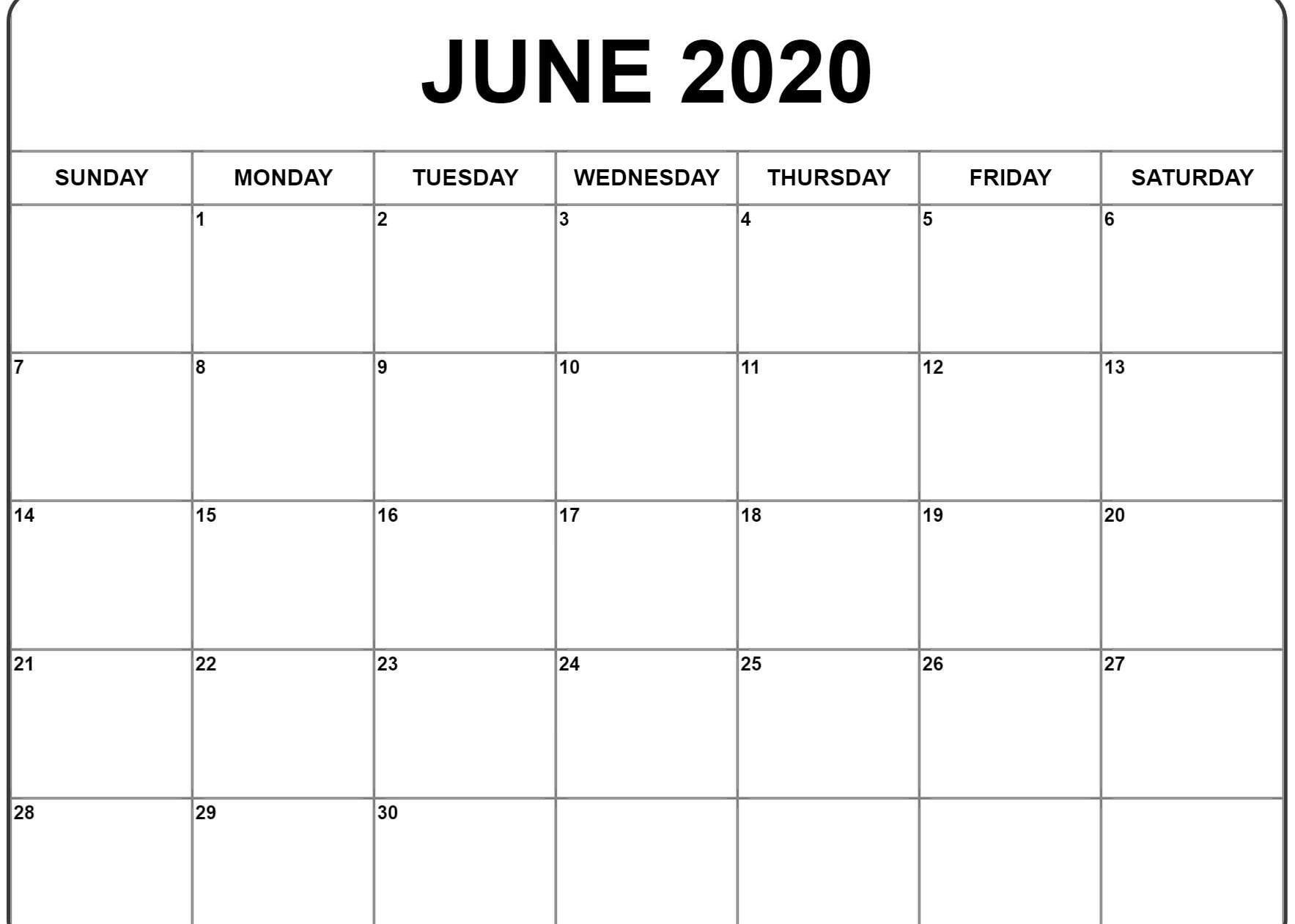June 2020 Calendar Pdf, Word, Excel Template-Calendar Word 2020 Microsoft Word Monthly