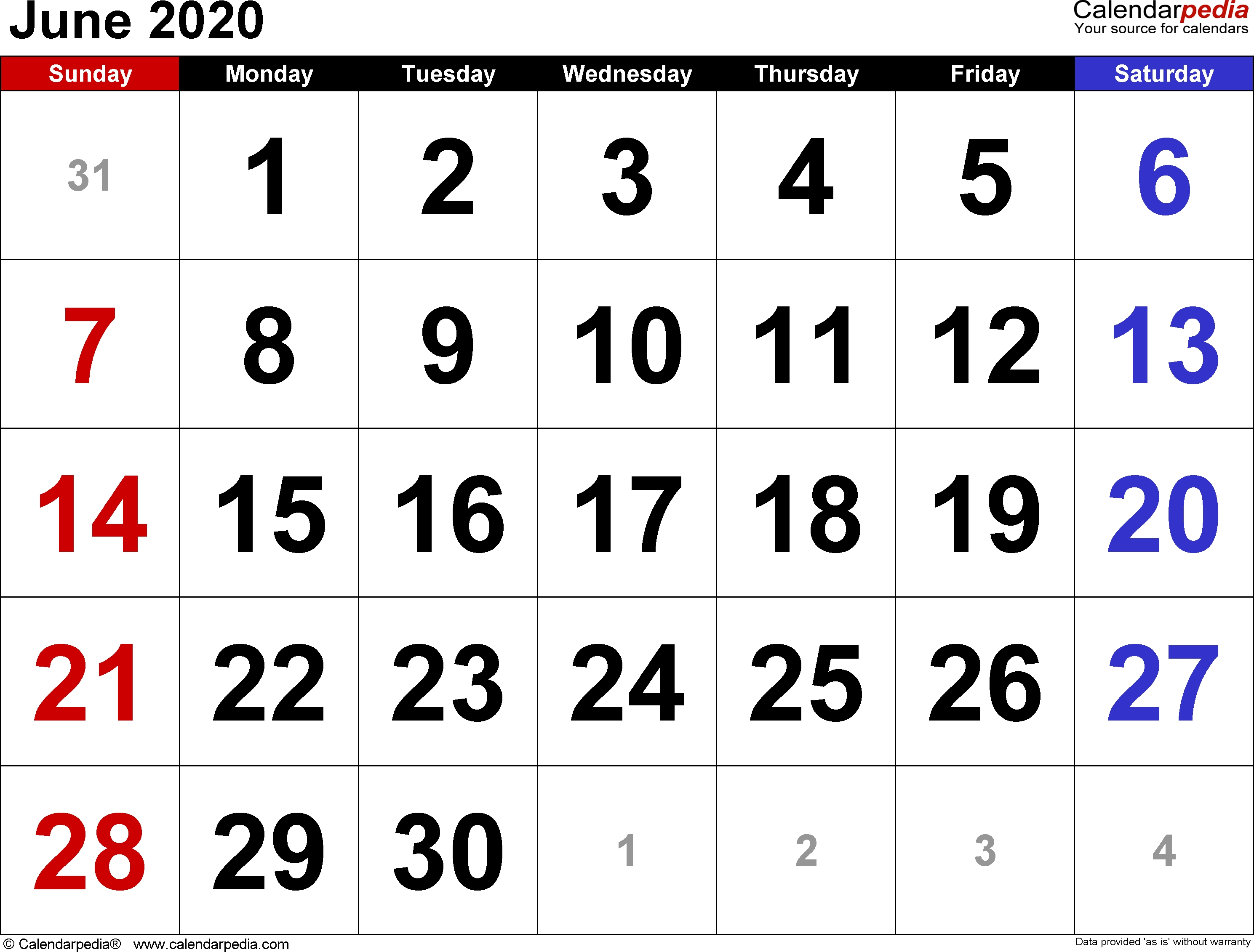 June 2020 Calendars For Word, Excel & Pdf-Blank Customizable June Calendar Template 2020