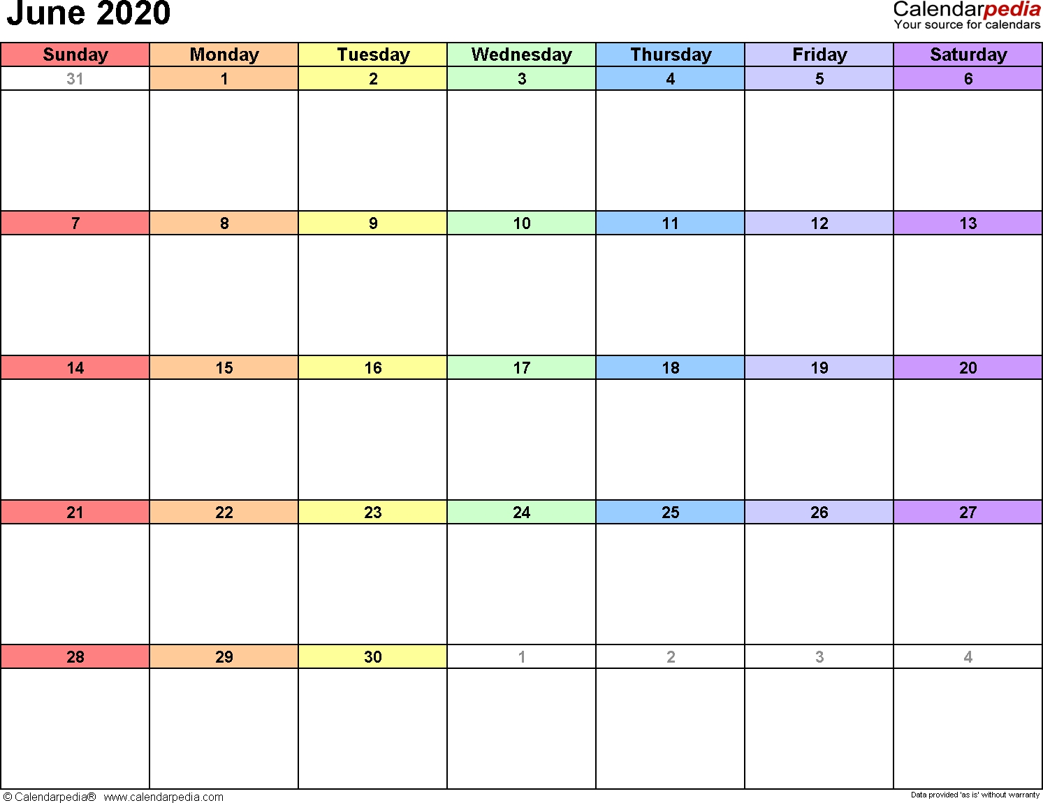 June 2020 Calendars For Word, Excel & Pdf-Blank Printable Calendar 2020 June