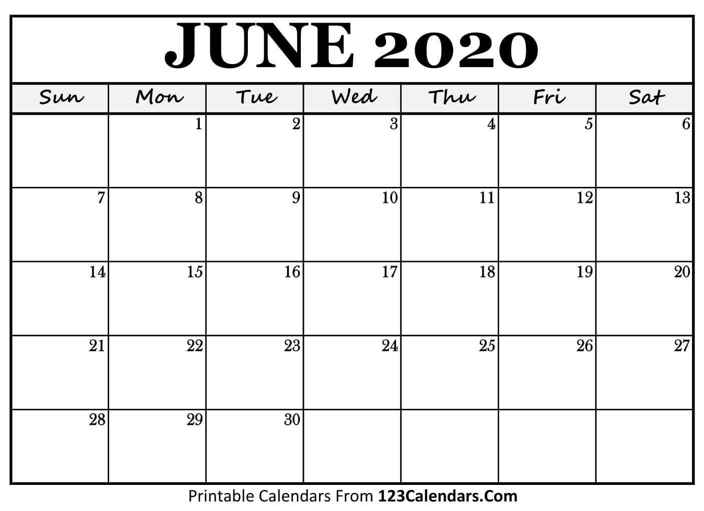 June 2020 Printable Calendar | 123Calendars-2020 Calendar Template With Catholic Holidays