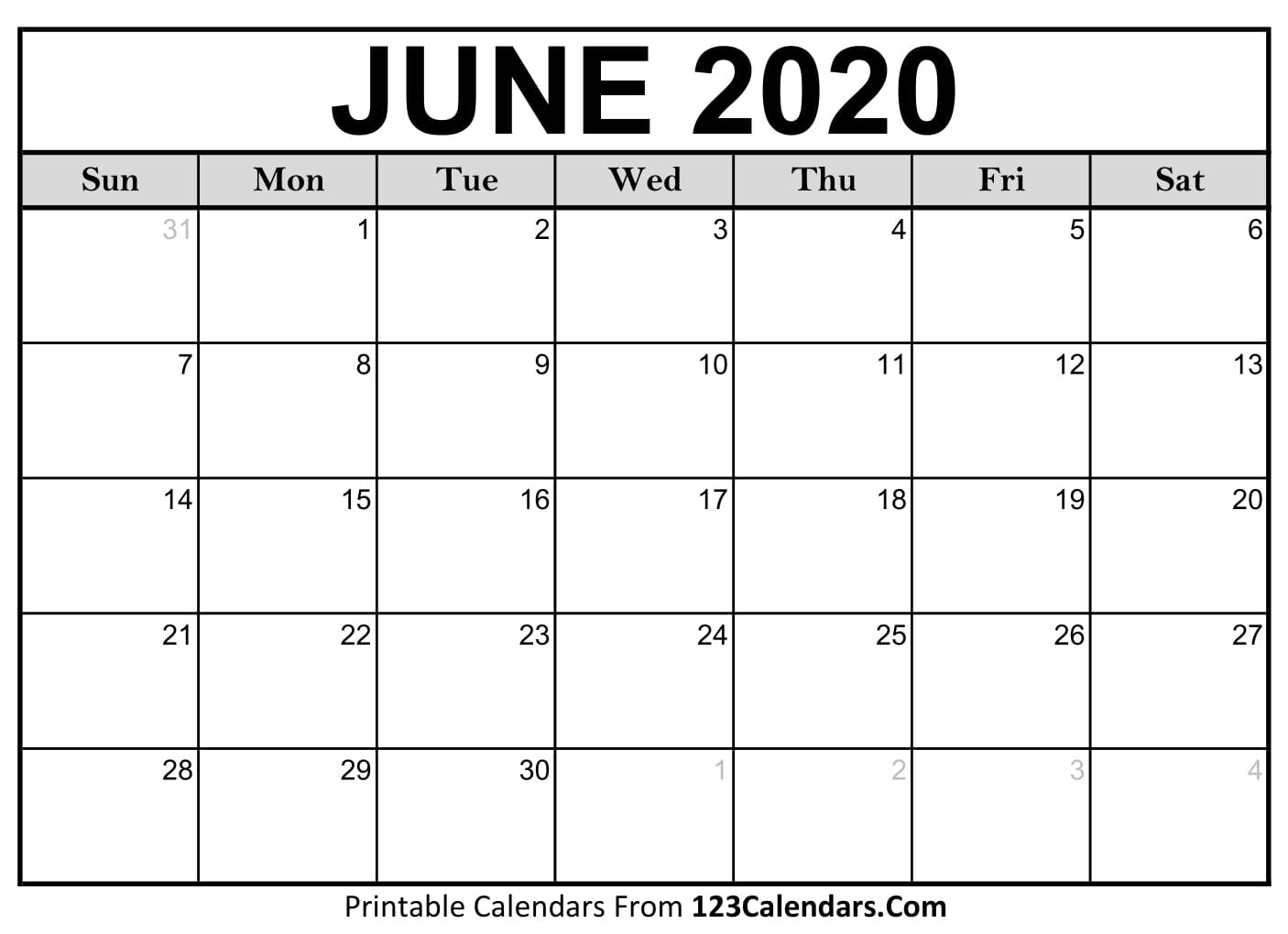 June 2020 Printable Calendar | 123Calendars-Blank Customizable June Calendar Template 2020