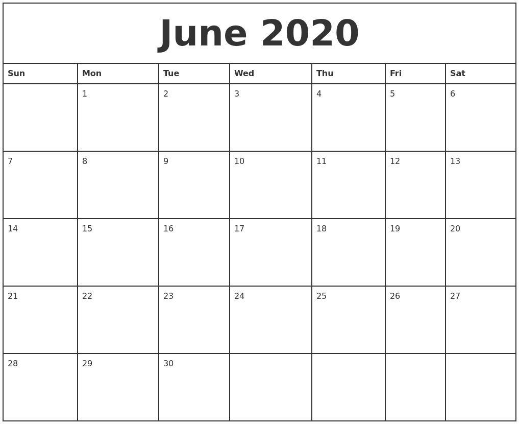 June 2020 Printable Monthly Calendar-Printable Monthly Bill Pay Calendar 2020