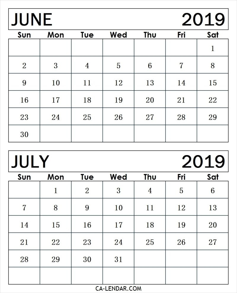 June And July 2019 Calendar (2 Months Printable Templates-June And July Blank Calendar