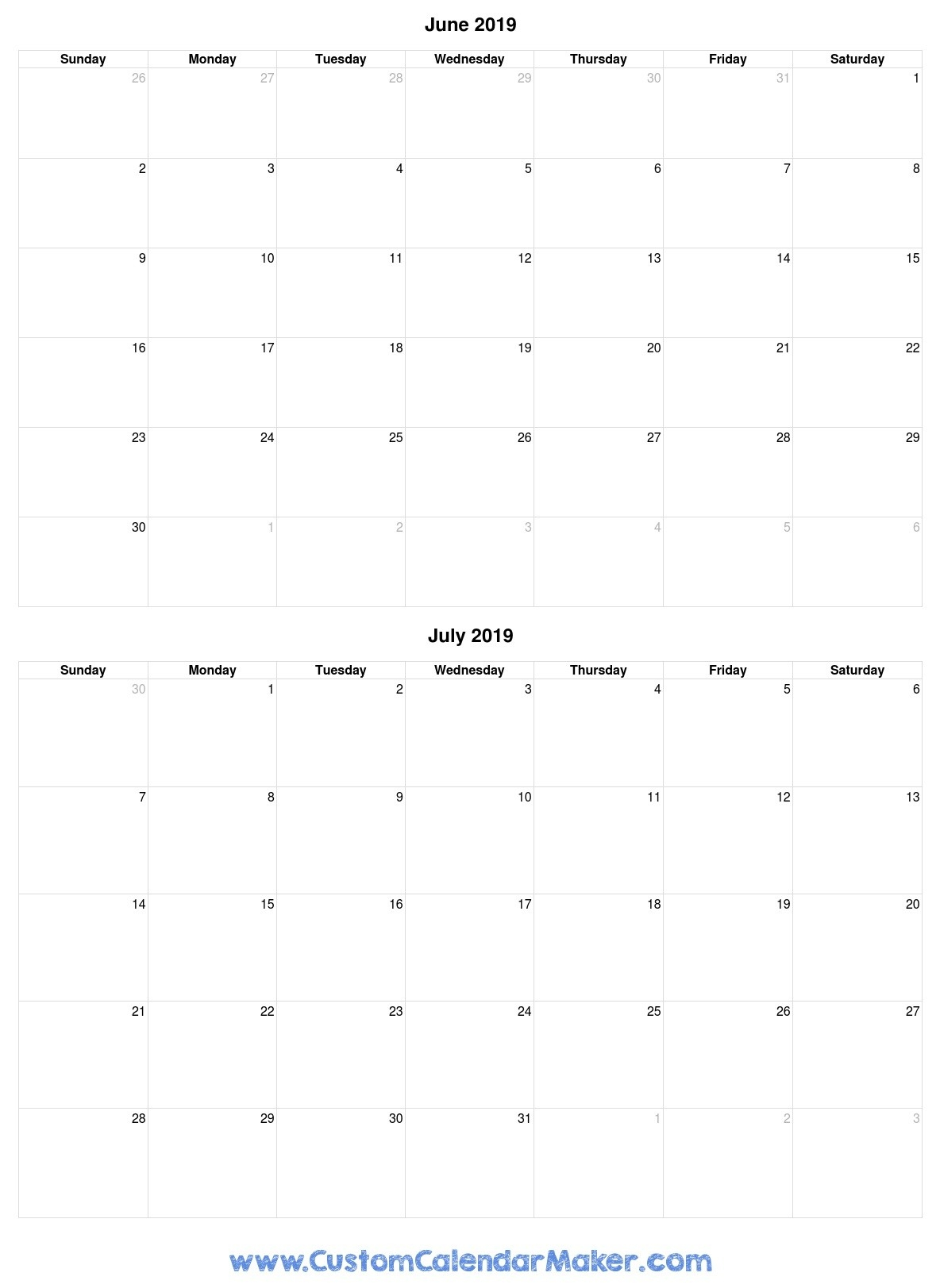 June And July 2019 Free Printable Calendar Template-Month Of June And July Blank Calendar