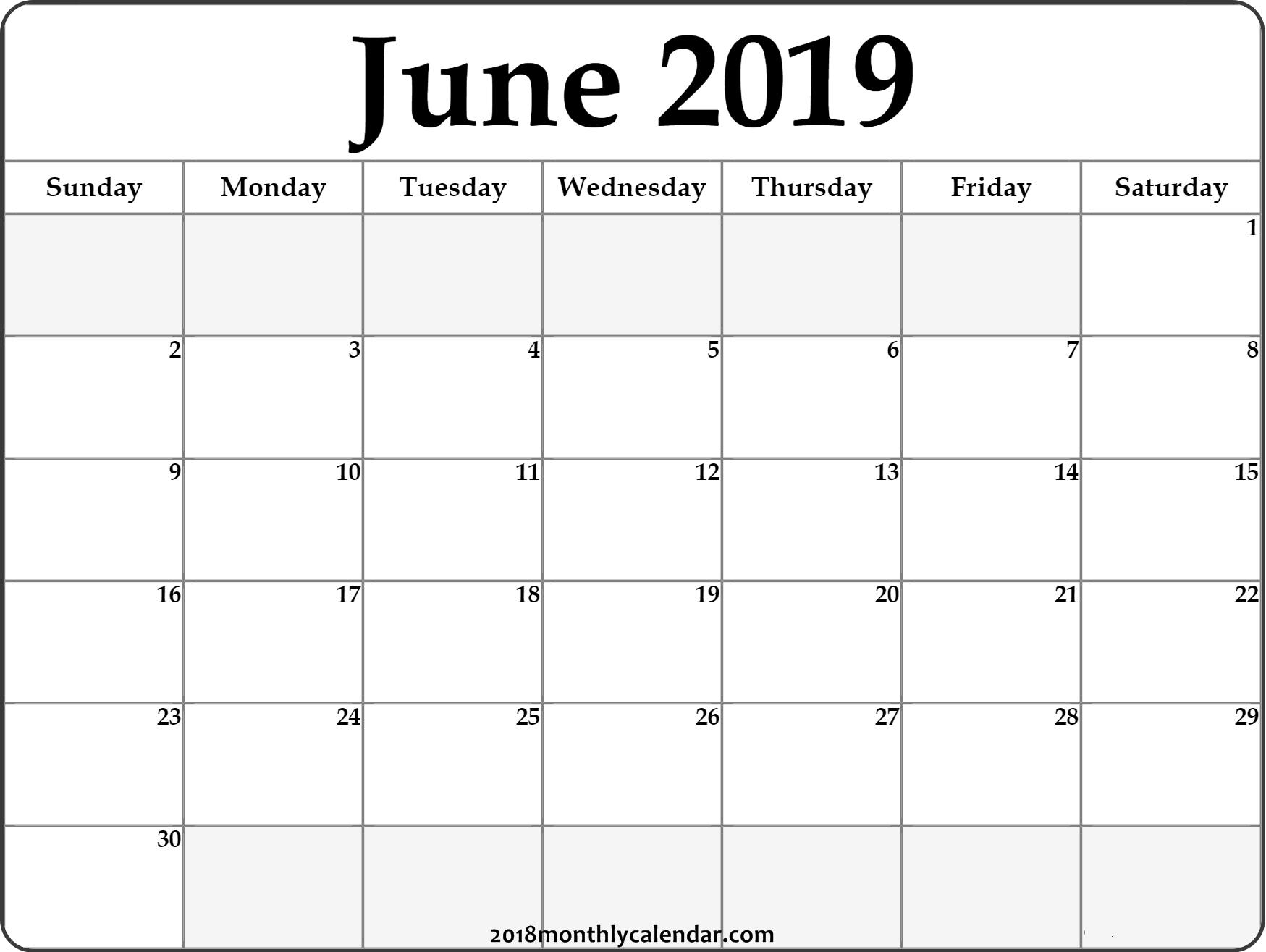 June Calendar 2019 #june #2019Calendar #june2019-June And July Blank Calendar