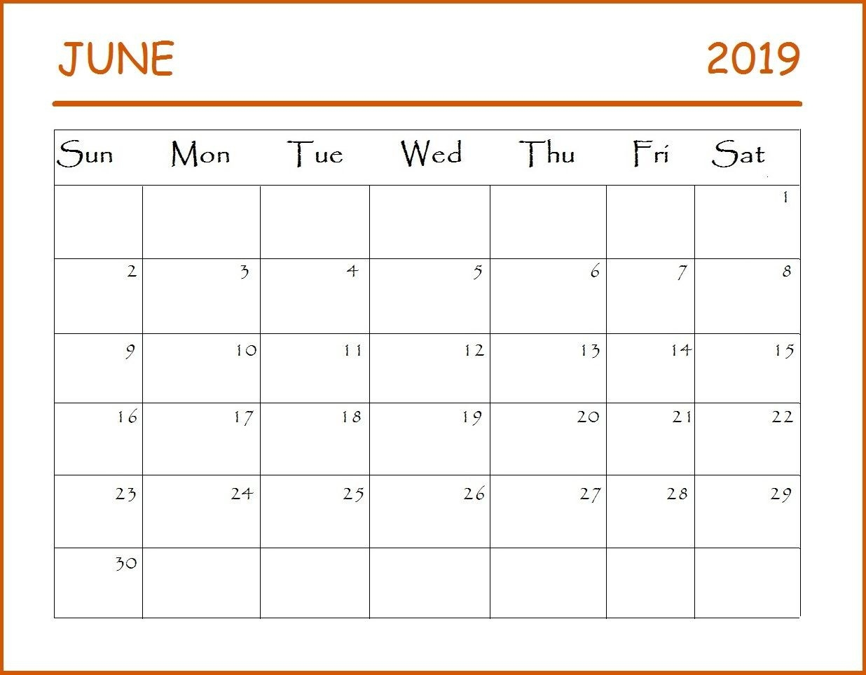 June Calendar 2019 #june #june2019 #june2019Calendar-Monthly Schdule For June