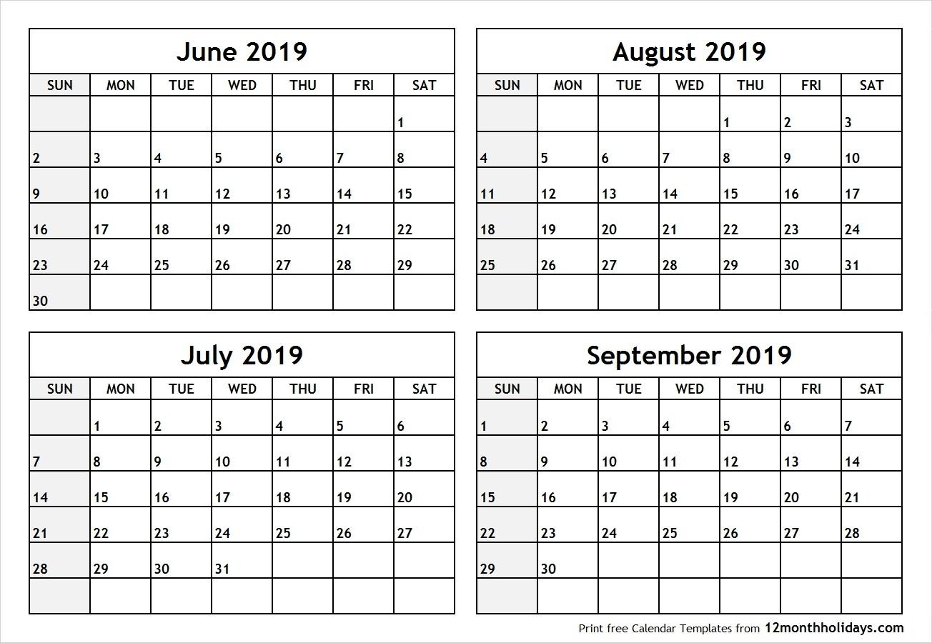 June July 2019 Calendar Printable Template Free Download-Blank Callendar For June July Aug And Sept