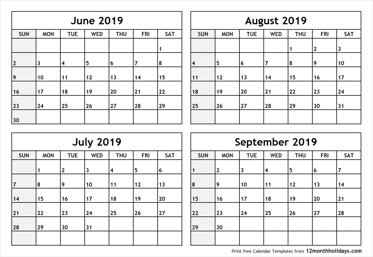 June July 2019 Calendar Printable Template Free Download-Printable Blank Calendars June July August