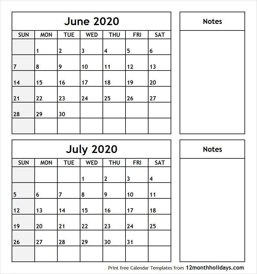 June-July-2020-Printable-Calendar - All 12 Month Calendar-Blank Calendar June-July 2020