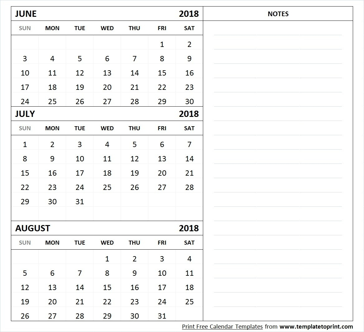 June July August 2018 Calendar Template Printable | 3 Month-June July August Calendar Template