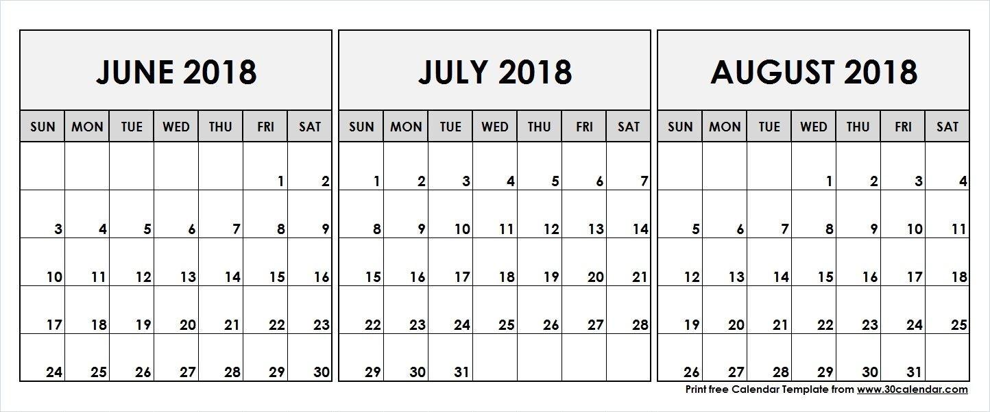 June July August 2018 Printable Calendar | 2018 Calendar-June July & August Blank Calendar