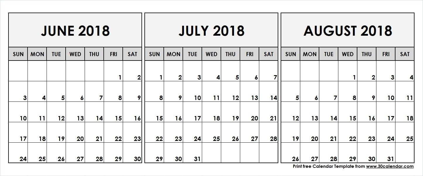 June July August 2018 Printable Calendar | 2018 Calendar-June July August Calendar Template