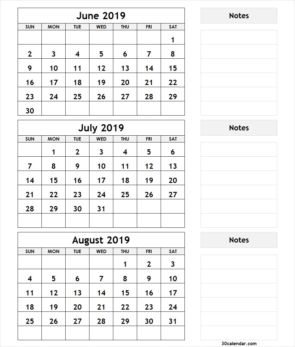 June July August 2019 Calendar | 3 Month Calendar Template-June July August Calendar Template