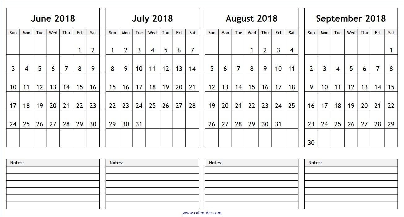 June July August September 2018 Calendar With Notes | 2018-Blank Callendar For June July Aug And Sept