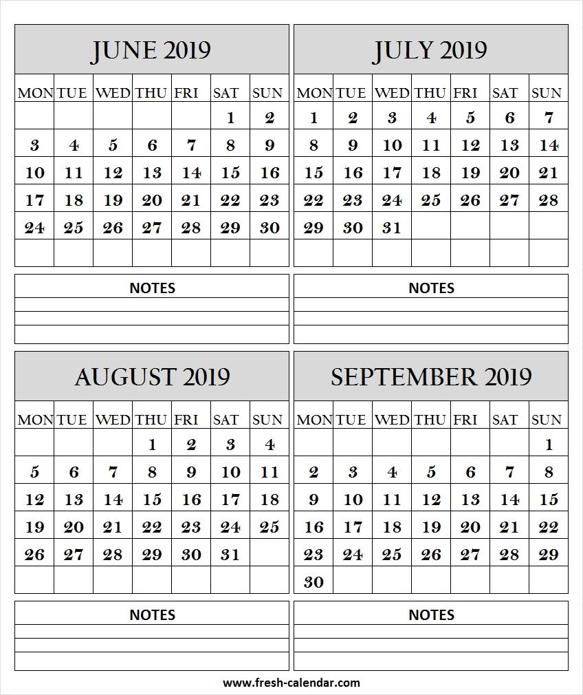 June July August September 2019 Calendar With Lines | 2019-Blank Callendar For June July Aug And Sept